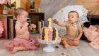 photo smash the cake jumeaux thème rétro chic anniversaire